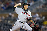 Indianapolis Indians starting pitcher Wilfredo Boscan (46) in action during the game against the Durham Bulls at Durham Bulls Athletic Park on August 4, 2015 in Durham, North Carolina.  The Indians defeated the Bulls 5-1.  (Brian Westerholt/Four Seam Images)