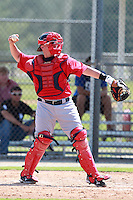 Boston Red Sox minor league catcher Christian Vazquez (24) during a game vs. the Minnesota Twins in an Instructional League game at Lee County Sports Complex in Fort Myers, Florida;  October 1, 2010.  Photo By Mike Janes/Four Seam Images