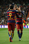 Barcelona´s Luis Suarez celebrates a goal with Neymar Jr during 2015-16 La Liga match between Real Madrid and Barcelona at Santiago Bernabeu stadium in Madrid, Spain. November 21, 2015. (ALTERPHOTOS/Victor Blanco)