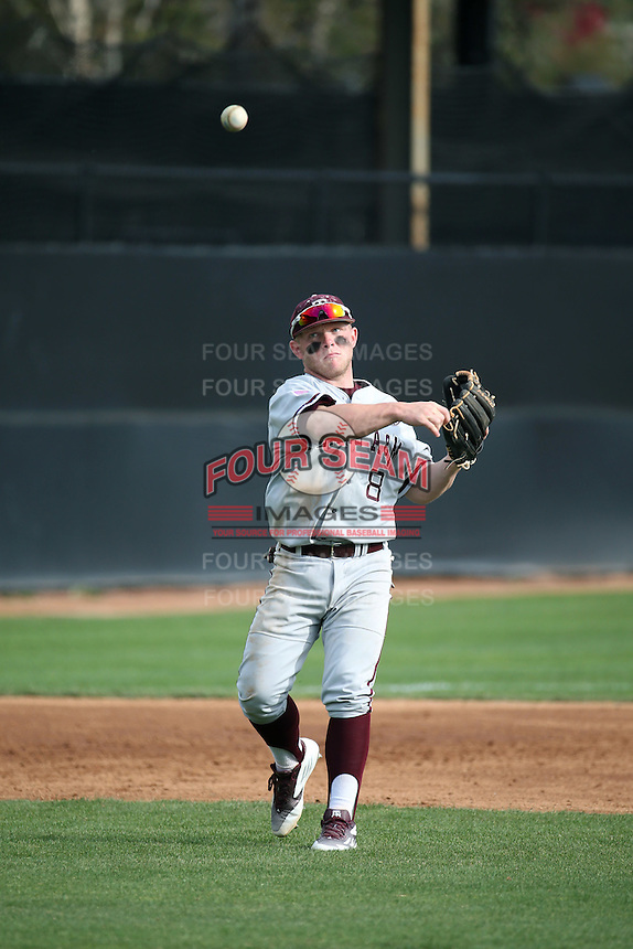Boomer White (8) of the Texas A&M Aggies makes a throw during a game against the Pepperdine Waves at Eddy D. Field Stadium on February 26, 2016 in Malibu, California. Pepperdine defeated Texas A&M, 7-5. (Larry Goren/Four Seam Images)