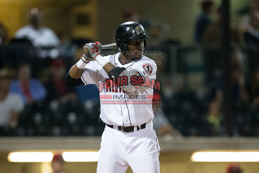 Montrell Marshall (29) of the Billings Mustangs at bat against the Missoula Osprey at Dehler Park on August 21, 2017 in Billings, Montana.  The Osprey defeated the Mustangs 10-4.  (Brian Westerholt/Four Seam Images)