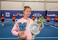 Amstelveen, Netherlands, 20  December, 2020, National Tennis Center, NTC, NK Indoor, National  Indoor Tennis Championships, Women's  Single Winner  :  	<br /> Lesley Pattinama-Kerkhove (NED) with  her winners trophy<br /> Photo: Henk Koster/tennisimages.com