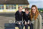 Levi Lane centre with his mum Barbara Browne and uncle Fionn Lane who started school together in Brosna NS junior infants