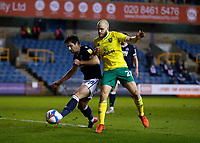 2nd February 2021; The Den, Bermondsey, London, England; English Championship Football, Millwall Football Club versus Norwich City; Ryan Leonard of Millwall challenges Teemu Pukki of Norwich City