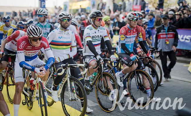 quite some rainbow line-up at the race start<br /> <br /> 103rd Ronde van Vlaanderen 2019<br /> One day race from Antwerp to Oudenaarde (BEL/270km)<br /> <br /> ©kramon