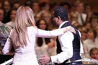 Celine Dion (L) and Gregory Charles (R)  joins 2 finalists choirs at Sainte-Justine Children hospital fundraiser event held at Montreal Symphonic Orchestra new home, July 16, 2014.<br /> <br /> <br /> <br /> Photo : Agence Quebec Presse - Pierre Roussel