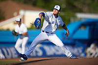Toronto Blue Jays pitcher J.P. Howell (22), on rehab assignment with the Dunedin Blue Jays, delivers a pitch against the St. Lucie Mets on April 20, 2017 at Florida Auto Exchange Stadium in Dunedin, Florida.  Howell went one inning allowing one hit and striking out two.  Dunedin defeated St. Lucie 6-4.  (Mike Janes/Four Seam Images)