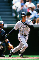 Mike Caruso of the Chicago White Sox during a game against the Anaheim Angels at Angel Stadium circa 1999 in Anaheim, California. (Larry Goren/Four Seam Images)