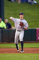 Northwest Arkansas Naturals third baseman Hunter Dozier (24) warmup throw to first during a game against the Springfield Cardinals on April 26, 2016 at Hammons Field in Springfield, Missouri.  Northwest Arkansas defeated Springfield 5-2.  (Mike Janes/Four Seam Images)