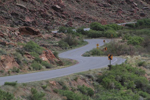Highway 128 winds along the Colorado River near Moab, Utah, USA.