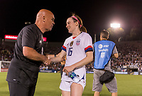 PASADENA, CA - AUGUST 4: Tom O'Connor talks with Rose Lavelle #16 during a game between Ireland and USWNT at Rose Bowl on August 3, 2019 in Pasadena, California.