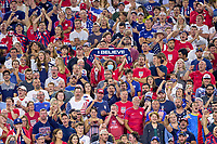 """5th September 2021; Nashville, TN, USA;  A United States fan celebrates by holding up an """"I Believe"""" scarf during a CONCACAF World Cup qualifying match between the United States and Canada on September 5, 2021 at Nissan Stadium in Nashville, TN."""