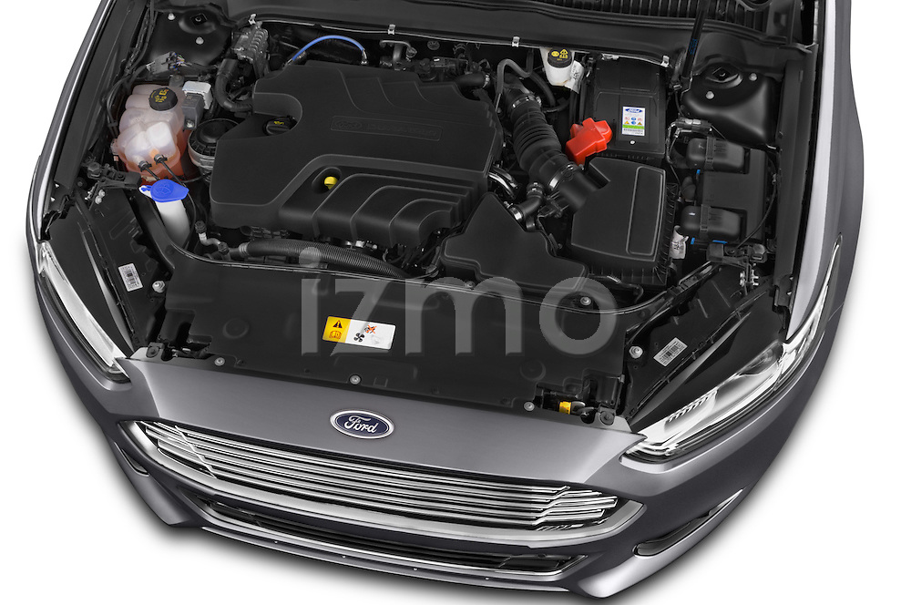Car Stock 2015 Ford Mondeo Titanium 5 Door Wagon 2WD Engine high angle detail view