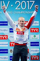 Ilia ZAKHAROV RUS Gold medal<br /> 3m. Men Springboard Podium<br /> LEN European Diving Championships 2017<br /> Sport Center LIKO, Kiev UKR<br /> Jun 12 - 18, 2017<br /> Day05 16-06-2017<br /> Photo © Giorgio Scala/Deepbluemedia/Insidefoto