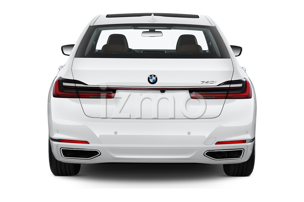 Straight rear view of a 2020 BMW 7 Series 740i Luxury 4 Door Sedan stock images