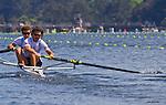 Rowing, Argentina, Men's Pair, Nicolas Silvestro, Sebastian Claus, stroke, Monday 1 November, heat, 2010 FISA World Rowing Championships, Lake Karapiro, Hamilton, New Zealand,