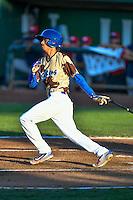 Moises Perez (3) of the Ogden Raptors at bat against the Orem Owlz in Pioneer League action at Lindquist Field on July 29, 2016 in Ogden, Utah. Orem defeated Ogden 8-5. (Stephen Smith/Four Seam Images)