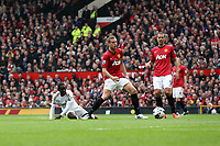 Pictured: (L-R) Nathan Dyer, Nemanja Vidic, Rio Ferdinand.<br /> Sunday 12 May 2013<br /> Re: Barclay's Premier League, Manchester City FC v Swansea City FC at the Old Trafford Stadium, Manchester.