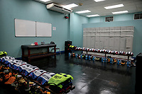 Couva, Trinidad & Tobago - Tuesday Oct. 10, 2017: USMNT locker room during a 2018 FIFA World Cup Qualifier between the men's national teams of the United States (USA) and Trinidad & Tobago (TRI) at Ato Boldon Stadium.