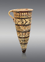 "Minoan decorated conical rhython geometric design , Konssos  'Unexplored Mansion"" 1450-1370 BC;  Heraklion Archaeological  Museum, grey background"
