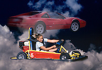 Composite image of a young girl in a go-cart pretending drive a red-hot sports car.