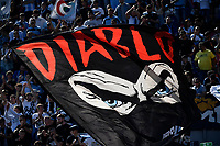 SS Lazio fans wave a flag with eyes of Diabolik during the Serie A football match between Bologna FC and SS Lazio at Renato Dall'Ara stadium in Bologna (Italy), October 3rd, 2021. Photo Andrea Staccioli / Insidefoto