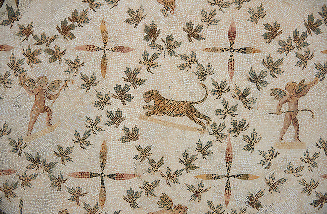 Picture of a Roman mosaics design depicting cupids picking grapes and panthers, from the ancient Roman city of Thysdrus. 3rd century AD, House of Dolphins. El Djem Archaeological Museum, El Djem, Tunisia.