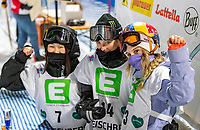 9th January 2021; Kreischberg, Murau, Austria. FIS World Cup Womens Snowboarding Big Air;  2nd placed Kokomo Murase of Japan winner Zoi Sadowski Synnott of New Zealand 3rd placed Anna Gasser of Austria during the final of womens Snowboard Big Air Competition