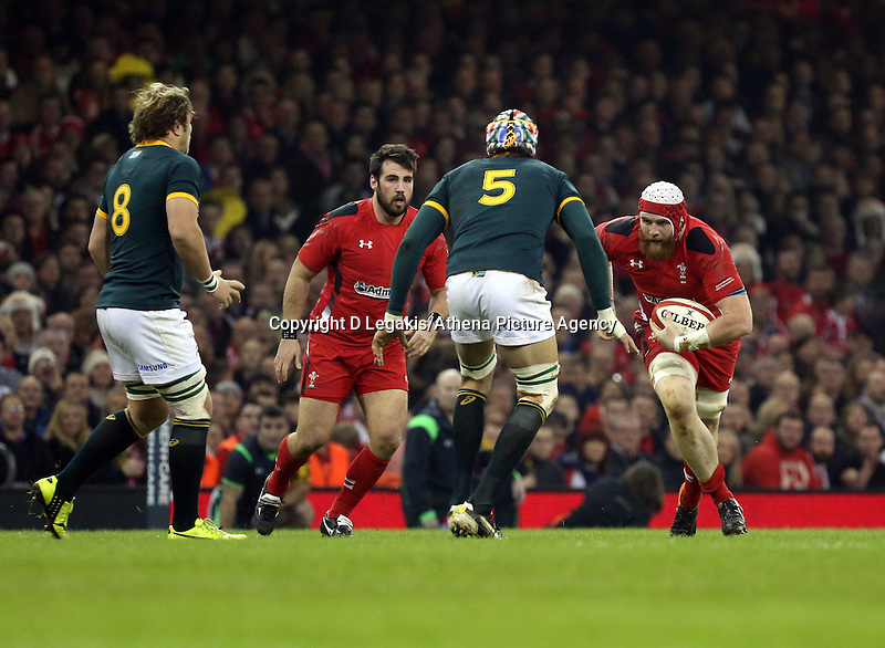 Pictured: Jake Ball of Wales (R) against Victor Matfield of South Africa (5) Saturday 29 November 2014<br /> Re: Dove Men Series 2014 rugby, Wales v South Africa at the Millennium Stadium, Cardiff, south Wales, UK.