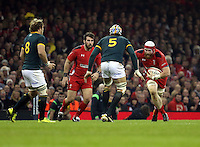 Pictured: Jake Ball of Wales (R) against Victor Matfield of South Africa (5) Saturday 29 November 2014<br />