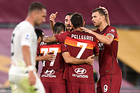 Henrikh Mkhitaryan of AS Roma celebrates with team mates Lorenzo Pellegrini, Bryan Cristante and Edin Dzeko after scoring the goal of 3-1 during the Serie A football match between AS Roma and Benevento Calcio at Olimpico stadium in Roma (Italy), October 18th, 2020. The goal was cancelled by VAR.  Photo Antonietta Baldassarre / Insidefoto
