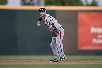 Lake Elsinore Storm shortstop Deion Tansel (10) makes a throw to first base during a California League game against the Modesto Nuts at John Thurman Field on May 11, 2018 in Modesto, California. Modesto defeated Lake Elsinore 3-1. (Zachary Lucy/Four Seam Images)