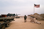 Al Batin, Saudi Arabia<br /> February 2, 1991<br /> <br /> American A-10 planes are loaded with 500 pound bombs to be used on targets in Iraq and Kuwait at King Khalid Military City -KKMC or Emerald City.