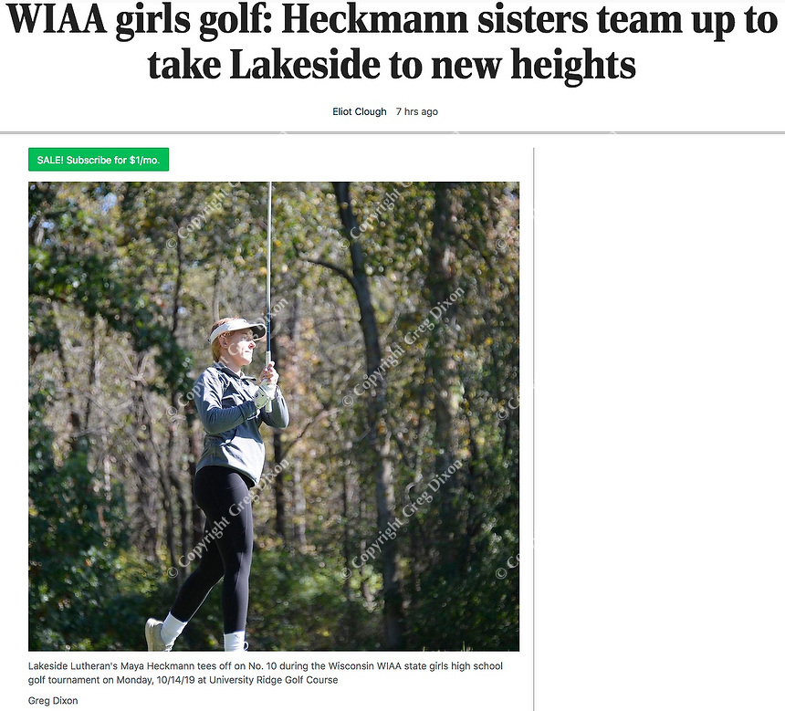 Wisconsin WIAA high school golf preview for October, 2020: Lakeside Lutheran Heckmann sisters - Lakeside Lutheran's Maya Heckmann tees off on No. 10 during the Wisconsin WIAA state girls high school golf tournament on Monday, 10/14/19 at University Ridge Golf Course   Wisconsin State Journal article online 10/5/20 at https://madison.com/wsj/sports/high-school/golf/wiaa-girls-golf-heckmann-sisters-team-up-to-take-lakeside-to-new-heights/article_5abe2f8e-023f-59d8-9ab1-eec773422add.html