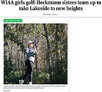 Wisconsin WIAA high school golf preview for October, 2020: Lakeside Lutheran Heckmann sisters - Lakeside Lutheran's Maya Heckmann tees off on No. 10 during the Wisconsin WIAA state girls high school golf tournament on Monday, 10/14/19 at University Ridge Golf Course | Wisconsin State Journal article online 10/5/20 at https://madison.com/wsj/sports/high-school/golf/wiaa-girls-golf-heckmann-sisters-team-up-to-take-lakeside-to-new-heights/article_5abe2f8e-023f-59d8-9ab1-eec773422add.html