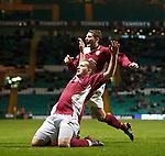 Arbroath's Steven Doris celebrates after scoring from a free-kick