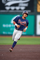 Danville Braves catcher Ricardo Rodriguez (49) runs the bases during a game against the Johnson City Cardinals on July 28, 2018 at TVA Credit Union Ballpark in Johnson City, Tennessee.  Danville defeated Johnson City 7-4.  (Mike Janes/Four Seam Images)