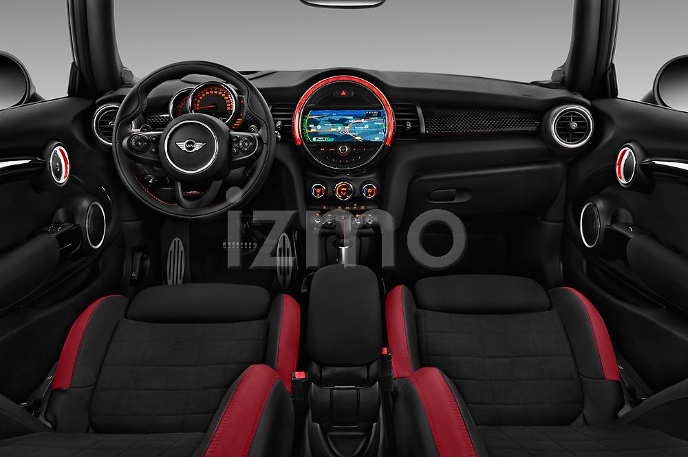 Stock photo of straight dashboard view of a 2017 Mini MINI John Cooper Works 3 Door Hatchback
