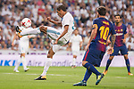 Real Madrid's Raphael Varane and FC Barcelona's Leo Messi during Supercup of Spain 2nd match at Santiago Bernabeu Stadium in Madrid, Spain August 16, 2017. (ALTERPHOTOS/Borja B.Hojas)