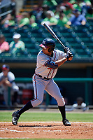 Mississippi Braves designated hitter Jared James (19) at bat during a game against the Montgomery Biscuits on April 25, 2017 at Montgomery Riverwalk Stadium in Montgomery, Alabama.  Mississippi defeated Montgomery 3-2.  (Mike Janes/Four Seam Images)