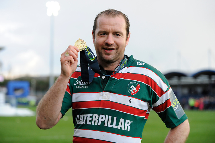 Geordan Murphy, the Leicester Tigers captain, with his winners medal after the LV= Cup Final match between Leicester Tigers and Northampton Saints at Sixways Stadium, Worcester on Sunday 18 March 2012 (Photo by Rob Munro, Fotosports International)