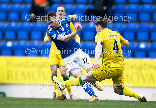 St Johnstone v Hibs …06.03.21   McDiarmid Park   SPFL<br />Guy Melamed is fouled by Paul Hanlon<br />Picture by Graeme Hart.<br />Copyright Perthshire Picture Agency<br />Tel: 01738 623350  Mobile: 07990 594431