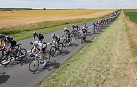 World Champion Julian Alaphilippe (FRA/Deceuninck - QuickStep) is part of the larger peloton that keeps losing time over a breakaway group that includes yellow jersey / GC leader Mathieu Van der Poel <br /> <br /> Stage 7 from Vierzon to Le Creusot (249km)<br /> 108th Tour de France 2021 (2.UWT)<br /> <br /> ©kramon