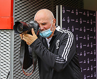 Standard club photographer Robert Absalonne pictured before a female soccer game between Standard Femina de Liege and KAA Gent Ladies on the second match day of the 2021 - 2022 season of Belgian Scooore Womens Super League , Saturday 28 th of August 2021  in Liege, Belgium . PHOTO SPORTPIX | SEVIL OKTEM