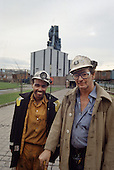 Miners at the end of a shift at Grimethorpe colliery (now demolished), South Yorkshire.