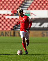 9th January 2021; City Ground, Nottinghamshire, Midlands, England; English FA Cup Football, Nottingham Forest versus Cardiff City; Lyle Taylor of Nottingham Forest breaks forward on the ball