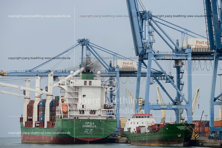 DJIBOUTI, port, ethiopian vessel MV Gambella, most of the goods for or from Ethiopia are shipped via Djibouti / DSCHIBUTI Hafen, ethiopisches Handelsschiff MS Gambella, die meisten Waren fuer Aethiopien werden ueber Djibouti verschifft, chinesische LKW auf einem KüMo
