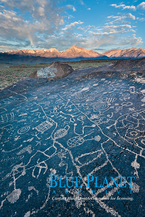 Sky Rock petroglyphs near Bishop, California.  Hidden atop on of the enormous boulders of the Volcanic Tablelands lies Sky Rock, a set of petroglyphs that face the sky.  These superb examples of native American petroglyph artwork are thought to be Paiute in origin, but little is known about them.
