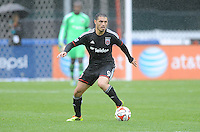 Washington, D.C.- March 29, 2014. Fabian Espindola (9) of D.C. United. The Chicago Fire tied D.C. United 2-2 during a Major League Soccer Match for the 2014 season at RFK Stadium.