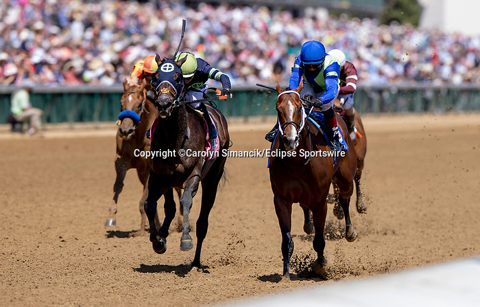 May 1, 2021 : Jackie's Warrior, #3, ridden by jockey Joel rosario, wins the Pat Day Mile on Kentucky Derby Day at Churchill Downs on May 1, 2021 in Louisville, Kentucky. Carolyn Simancik/Eclipse Sportswire/CSM